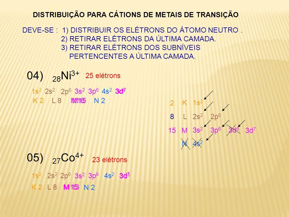 DISTRIBUIÇÃO PARA CÁTIONS DE METAIS DE TRANSIÇÃO 04) 28 Ni 3+ 25 elétrons DEVE-SE : 1) DISTRIBUIR OS ELÉTRONS DO ÁTOMO NEUTRO. 2) RETIRAR ELÉTRONS DA