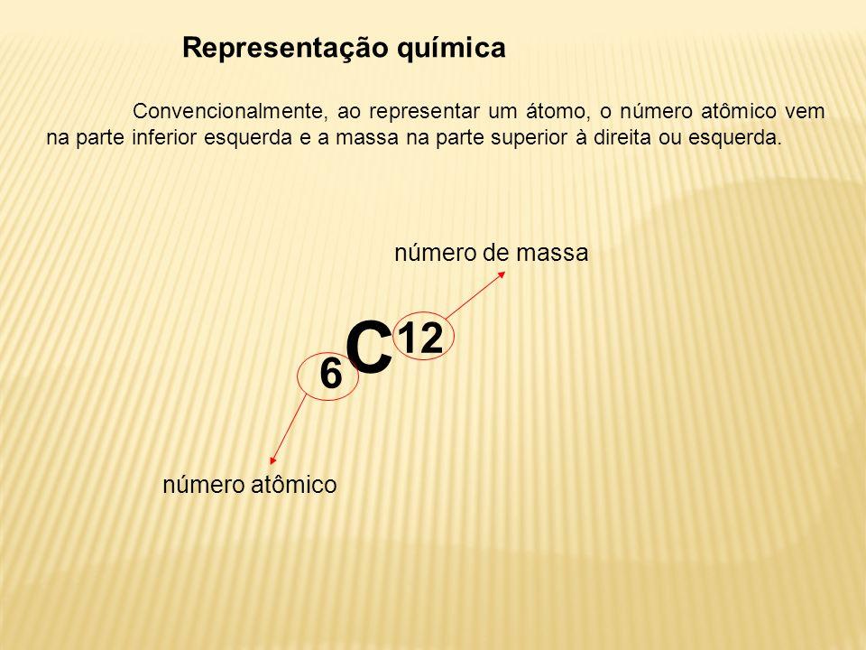 Representação química Convencionalmente, ao representar um átomo, o número atômico vem na parte inferior esquerda e a massa na parte superior à direit