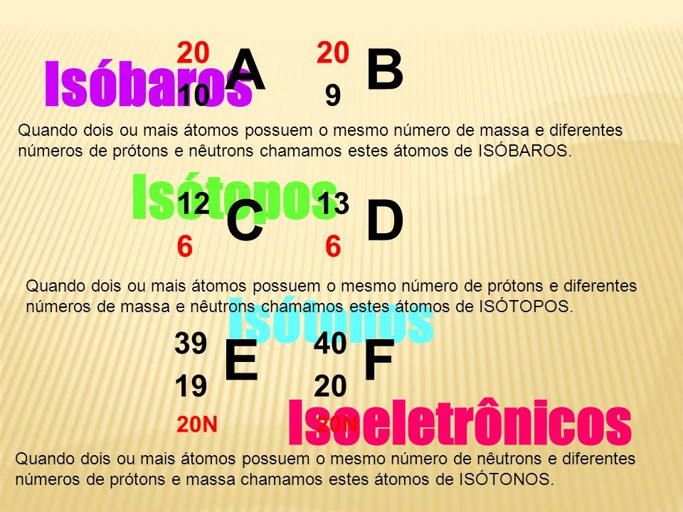 Isóbaros Isótopos Isótonos Isoeletrônicos A 20 10 B 20 9 Quando dois ou mais átomos possuem o mesmo número de massa e diferentes números de prótons e