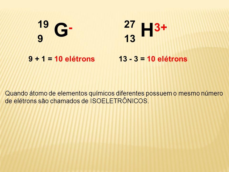 G-G- 19 9 H 3+ 27 13 Quando átomo de elementos químicos diferentes possuem o mesmo número de elétrons são chamados de ISOELETRÔNICOS. 9 + 1 = 10 elétr