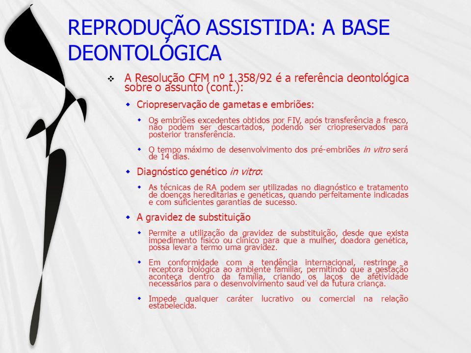 REPRODUÇÃO ASSISTIDA: A BASE DEONTOLÓGICA A Resolução CFM nº 1.358/92 é a referência deontológica sobre o assunto (cont.): Criopreservação de gametas