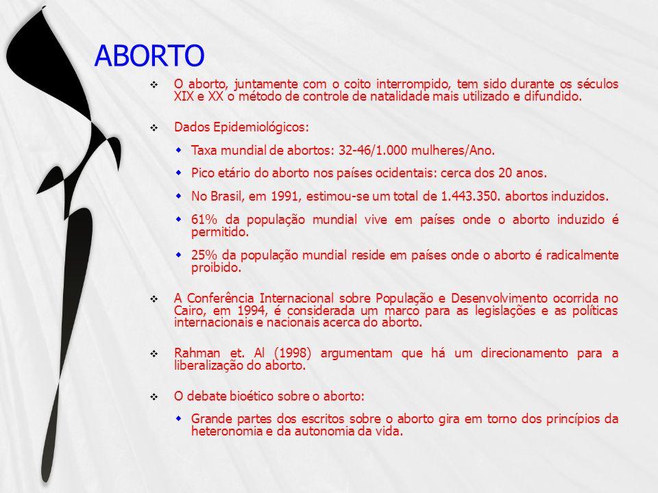 ABORTO O aborto, juntamente com o coito interrompido, tem sido durante os séculos XIX e XX o método de controle de natalidade mais utilizado e difundi