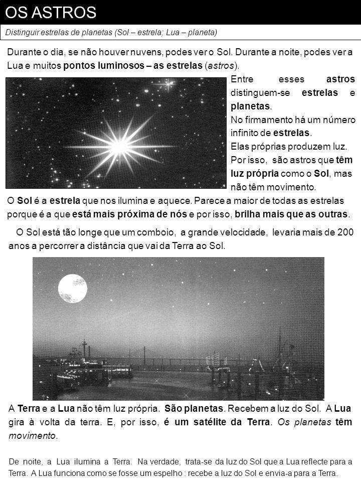 OS ASTROS Distinguir estrelas de planetas (Sol – estrela; Lua – planeta) Durante o dia, se não houver nuvens, podes ver o Sol. Durante a noite, podes