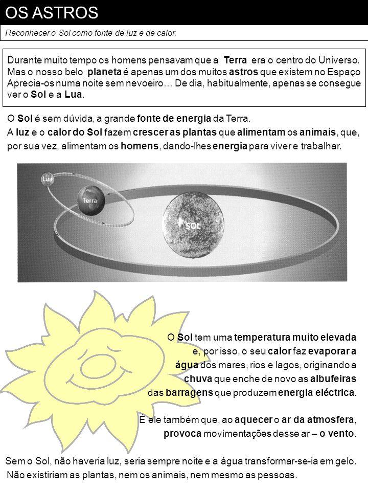 OS ASTROS Reconhecer o Sol como fonte de luz e de calor. Durante muito tempo os homens pensavam que a Terra era o centro do Universo. Mas o nosso belo