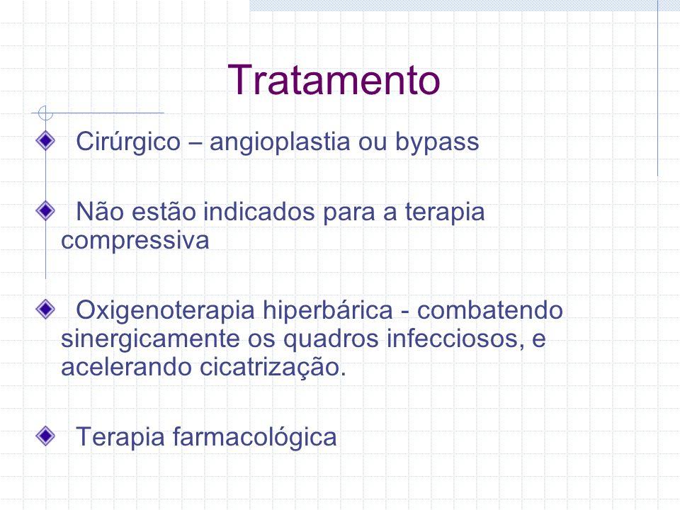 Tratamento Cirúrgico – angioplastia ou bypass Não estão indicados para a terapia compressiva Oxigenoterapia hiperbárica - combatendo sinergicamente os