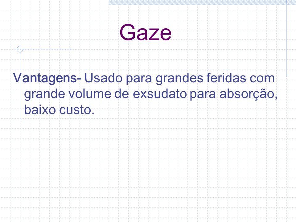 Gaze Vantagens- Usado para grandes feridas com grande volume de exsudato para absorção, baixo custo.