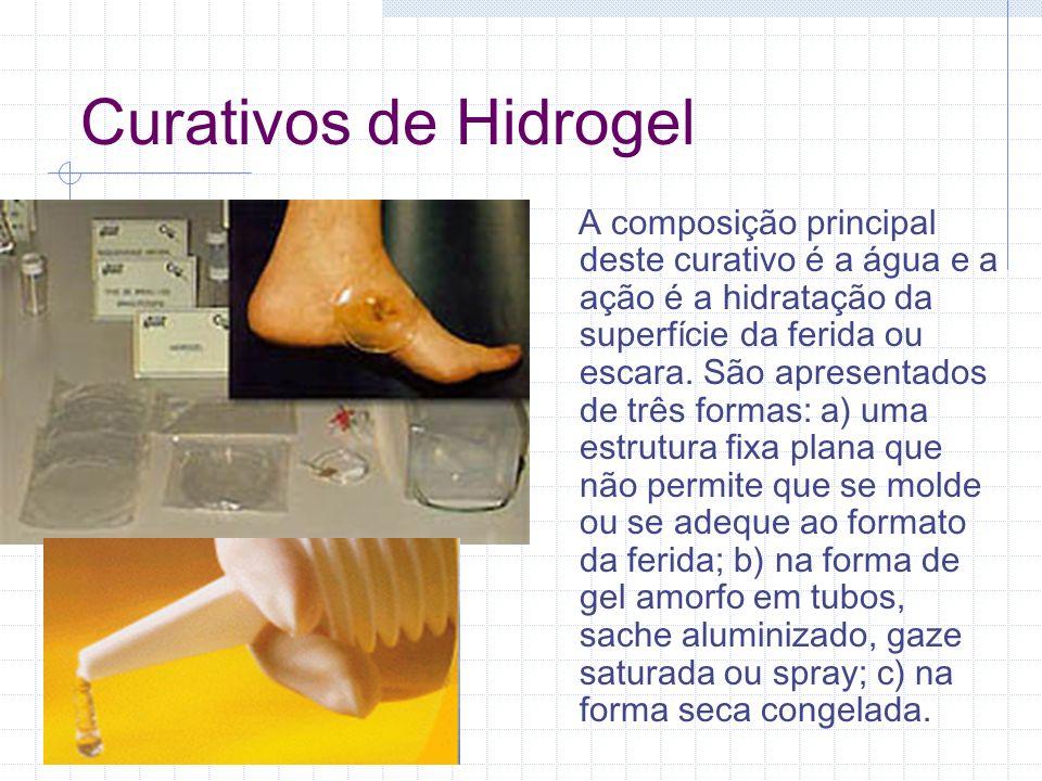 Curativos de Hidrogel A composição principal deste curativo é a água e a ação é a hidratação da superfície da ferida ou escara. São apresentados de tr