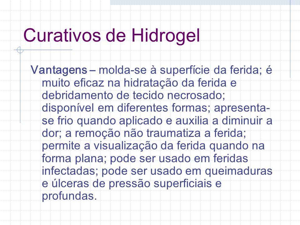 Curativos de Hidrogel Vantagens – molda-se à superfície da ferida; é muito eficaz na hidratação da ferida e debridamento de tecido necrosado; disponív