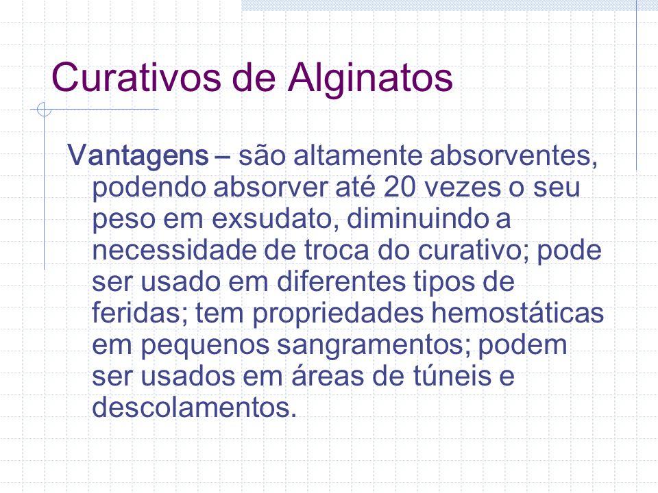 Curativos de Alginatos Vantagens – são altamente absorventes, podendo absorver até 20 vezes o seu peso em exsudato, diminuindo a necessidade de troca