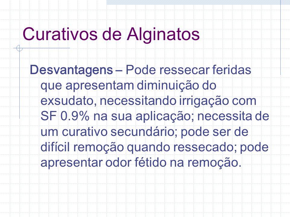 Curativos de Alginatos Desvantagens – Pode ressecar feridas que apresentam diminuição do exsudato, necessitando irrigação com SF 0.9% na sua aplicação