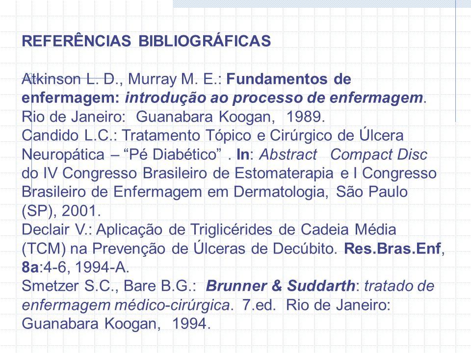 REFERÊNCIAS BIBLIOGRÁFICAS Atkinson L. D., Murray M. E.: Fundamentos de enfermagem: introdução ao processo de enfermagem. Rio de Janeiro: Guanabara Ko