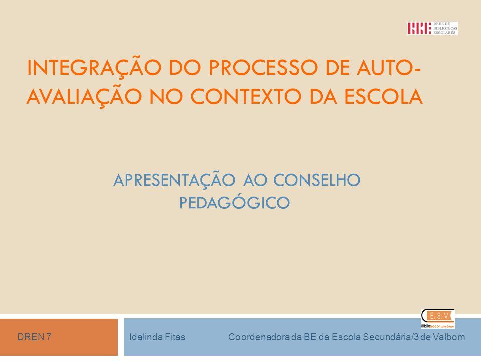 INTEGRAÇÃO DO PROCESSO DE AUTO- AVALIAÇÃO NO CONTEXTO DA ESCOLA APRESENTAÇÃO AO CONSELHO PEDAGÓGICO Idalinda Fitas Coordenadora da BE da Escola Secund
