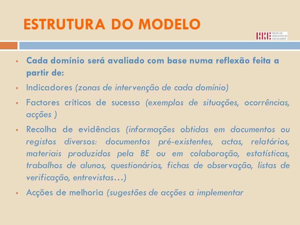 ESTRUTURA DO MODELO Cada domínio será avaliado com base numa reflexão feita a partir de: Indicadores (zonas de intervenção de cada domínio) Factores c