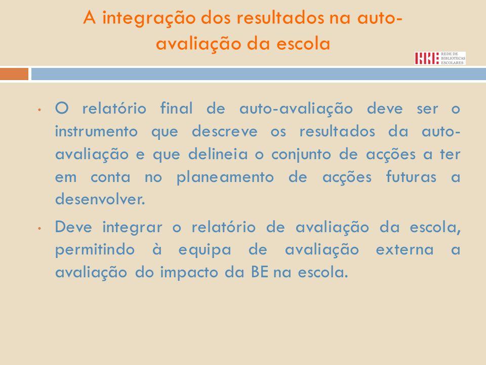 A integração dos resultados na auto- avaliação da escola O relatório final de auto-avaliação deve ser o instrumento que descreve os resultados da auto