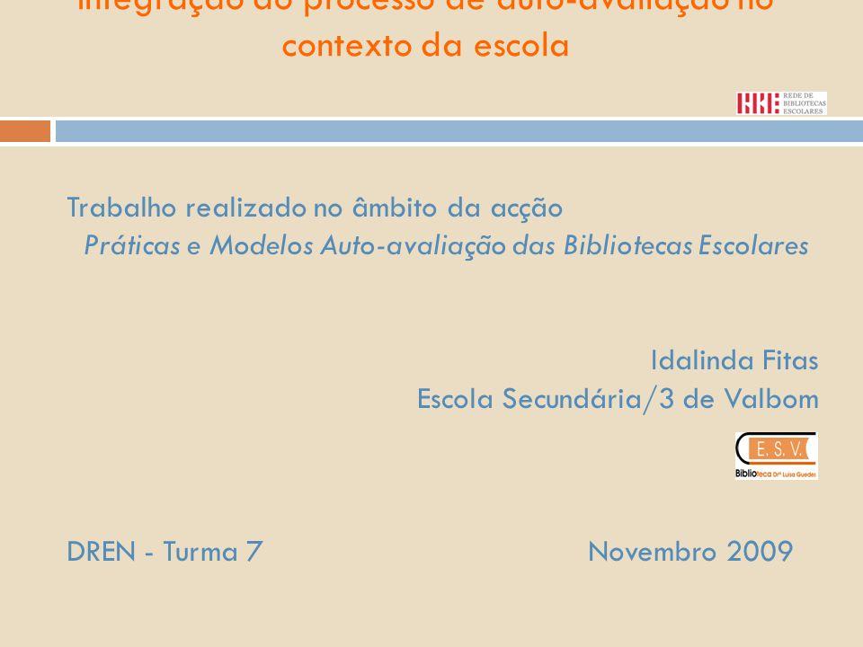 Integração do processo de auto-avaliação no contexto da escola Trabalho realizado no âmbito da acção Práticas e Modelos Auto-avaliação das Bibliotecas