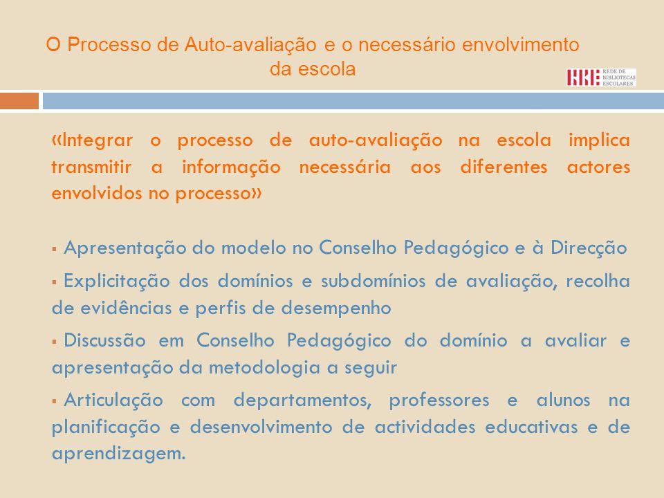 «Integrar o processo de auto-avaliação na escola implica transmitir a informação necessária aos diferentes actores envolvidos no processo» Apresentaçã