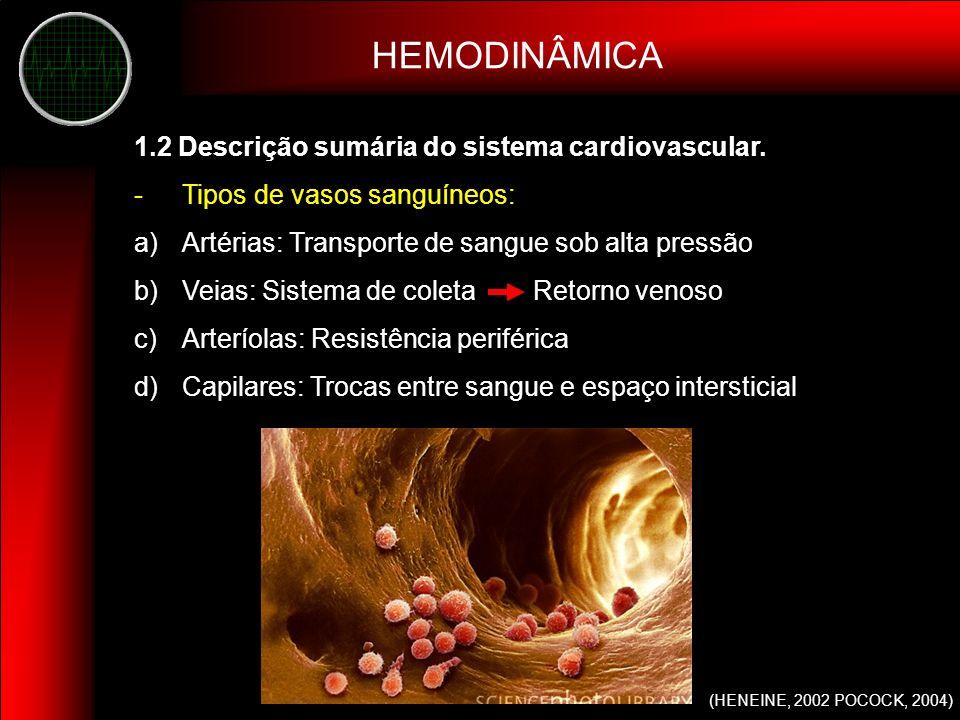 2.1 Fatores hemodinâmicos que determinam o fluxo sanguíneo -Pressão sanguínea -Resistência ao fluxo (R) (ΔP) Fluxo (R) Fluxo Q = π P r 4 8 Lη Lei de Poiseuille HEMODINÂMICA FLUXO SANGUÍNEO (GUYTON, 2006; HENEINE, 2002)