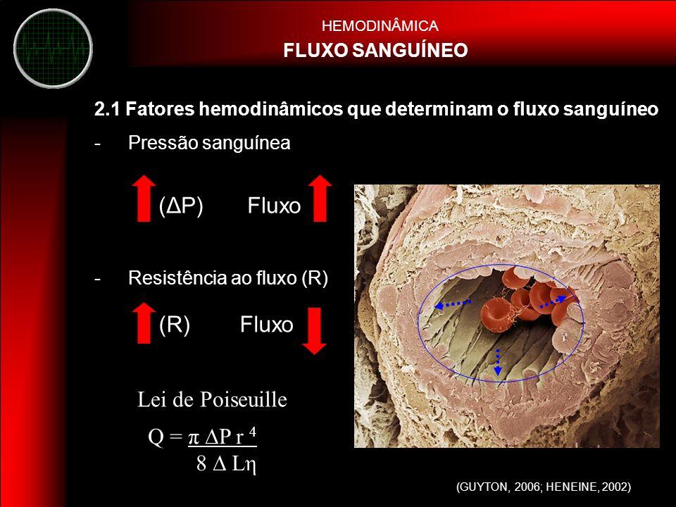 - Vasodilatação: diminui RV - Vasoconstricção: aumenta RV HEMODINÂMICA FLUXO SANGUÍNEO