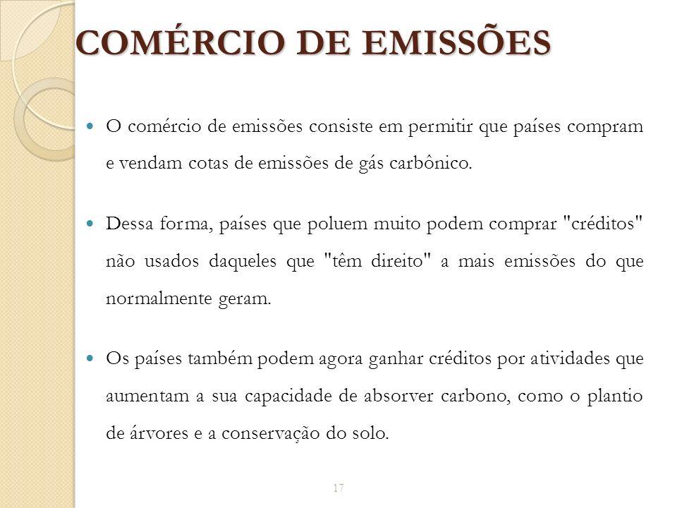 COMÉRCIO DE EMISSÕES O comércio de emissões consiste em permitir que países compram e vendam cotas de emissões de gás carbônico. Dessa forma, países q