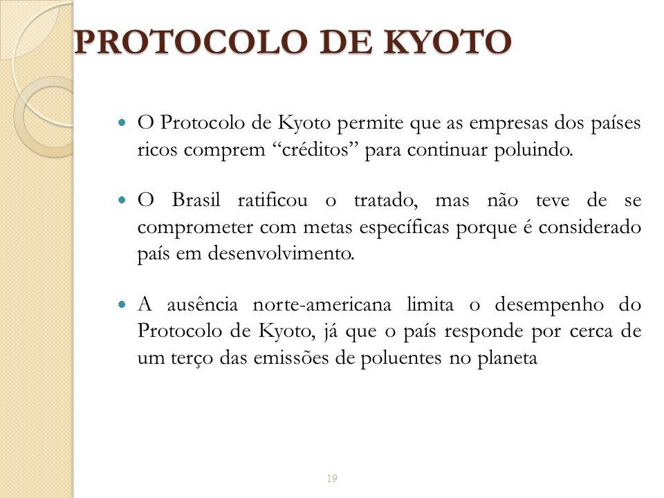PROTOCOLO DE KYOTO O Protocolo de Kyoto permite que as empresas dos países ricos comprem créditos para continuar poluindo. O Brasil ratificou o tratad