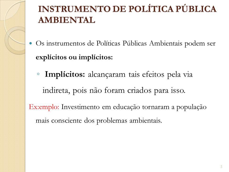 INSTRUMENTO DE POLÍTICA PÚBLICA AMBIENTAL Os instrumentos de Políticas Públicas Ambientais podem ser explícitos ou implícitos: Implícitos: alcançaram