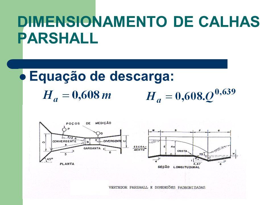Equação de descarga: DIMENSIONAMENTO DE CALHAS PARSHALL