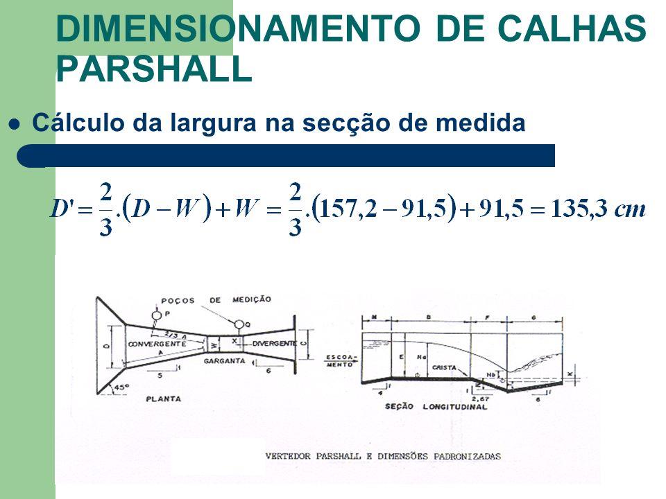 Cálculo da largura na secção de medida