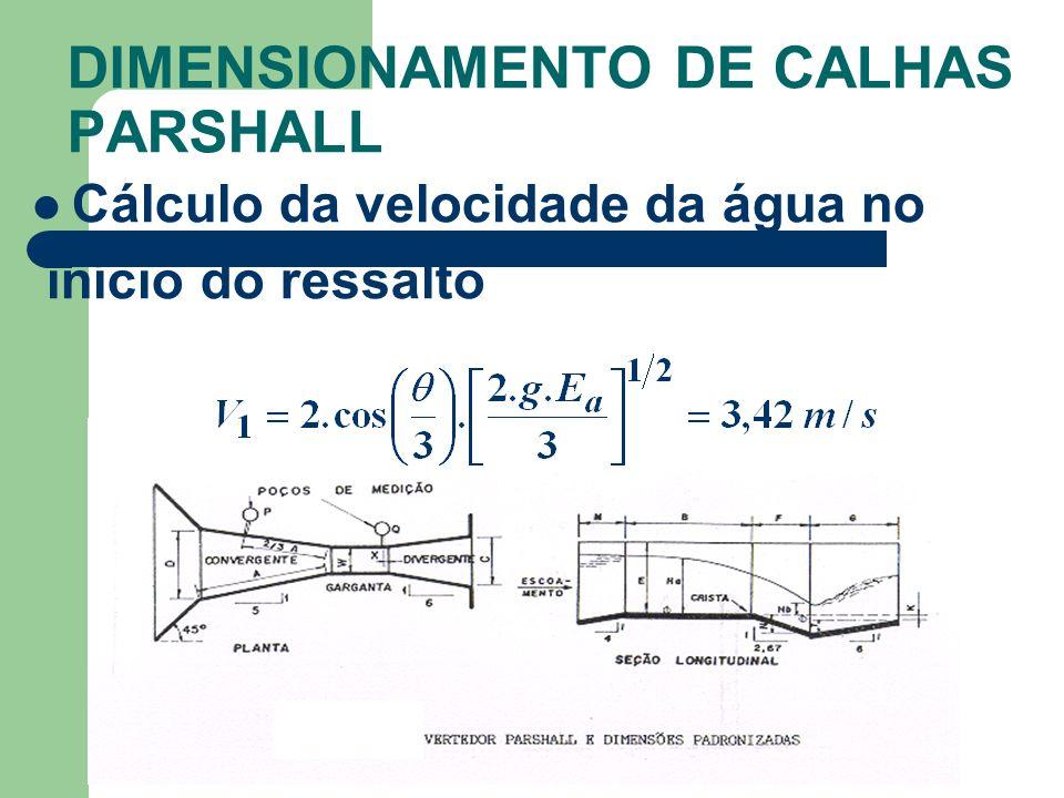 DIMENSIONAMENTO DE CALHAS PARSHALL Cálculo da velocidade da água no início do ressalto