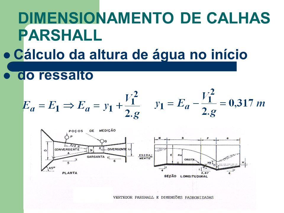 DIMENSIONAMENTO DE CALHAS PARSHALL Cálculo da altura de água no início do ressalto
