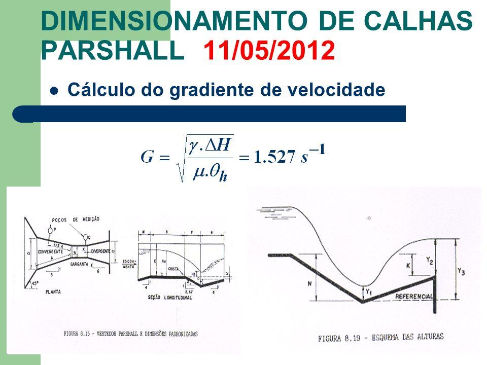 DIMENSIONAMENTO DE CALHAS PARSHALL 11/05/2012 Cálculo do gradiente de velocidade