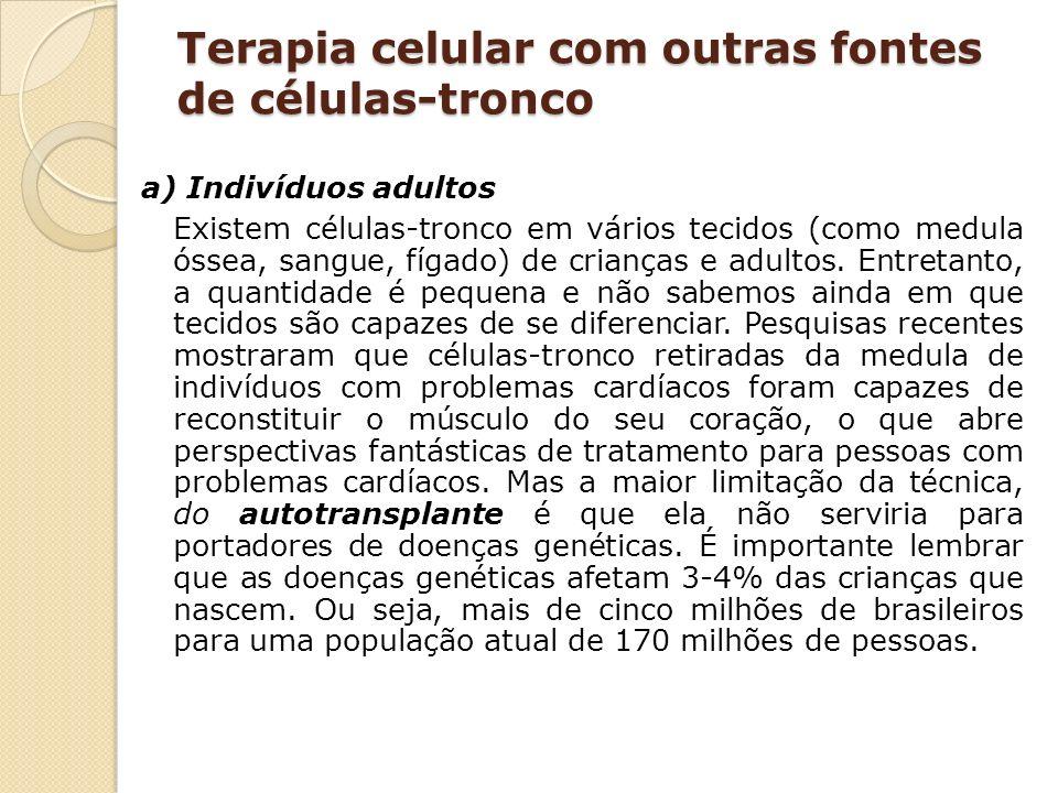 Terapia celular com outras fontes de células-tronco a) Indivíduos adultos Existem células-tronco em vários tecidos (como medula óssea, sangue, fígado)