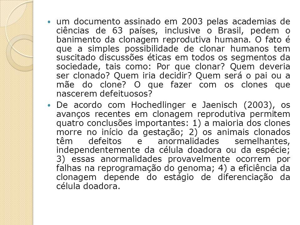 um documento assinado em 2003 pelas academias de ciências de 63 países, inclusive o Brasil, pedem o banimento da clonagem reprodutiva humana. O fato é