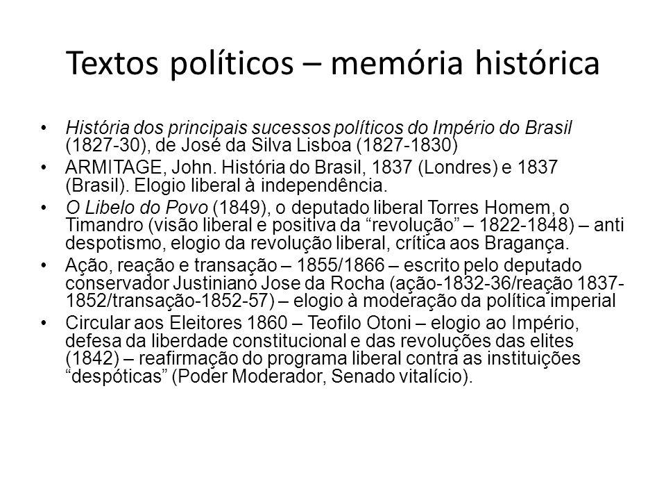 Textos políticos – memória histórica História dos principais sucessos políticos do Império do Brasil (1827-30), de José da Silva Lisboa (1827-1830) AR