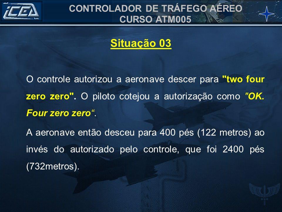 CONTROLADOR DE TRÁFEGO AÉREO CURSO ATM005 O controle autorizou a aeronave descer para