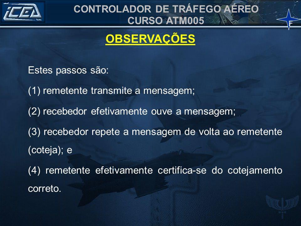 CONTROLADOR DE TRÁFEGO AÉREO CURSO ATM005 Estes passos são: (1) remetente transmite a mensagem; (2) recebedor efetivamente ouve a mensagem; (3) recebe