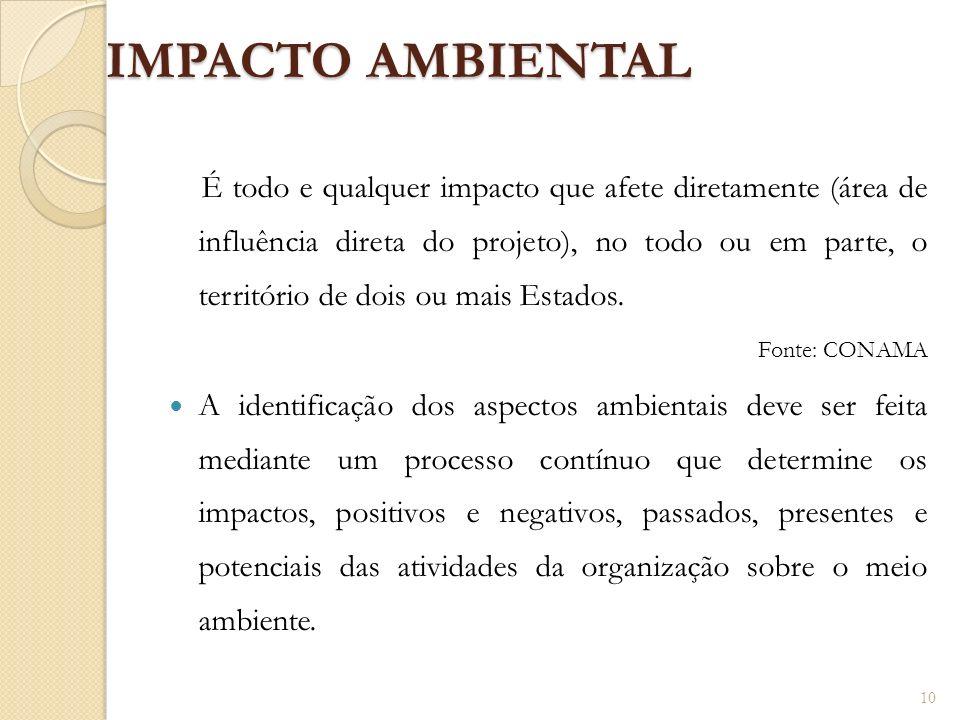 IMPACTO AMBIENTAL É todo e qualquer impacto que afete diretamente (área de influência direta do projeto), no todo ou em parte, o território de dois ou
