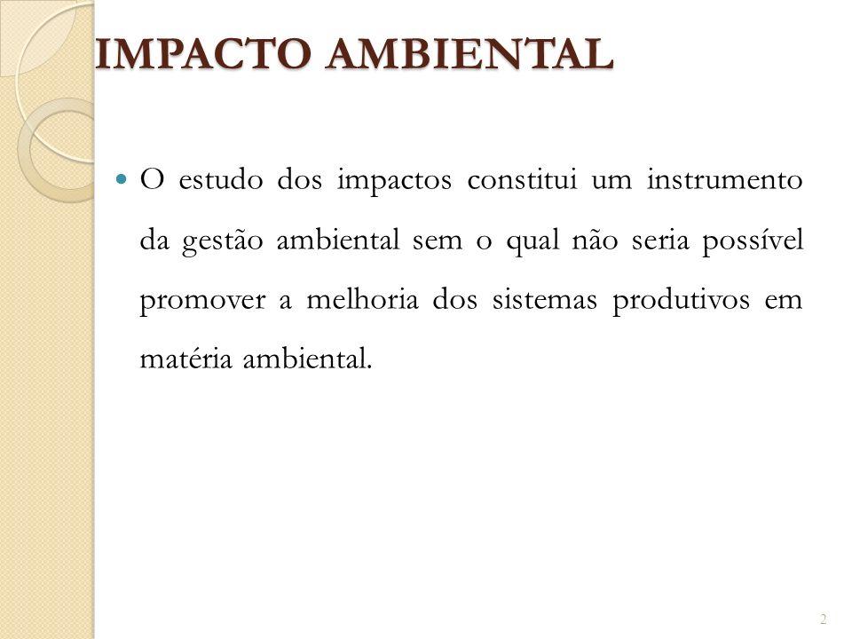 IMPACTO AMBIENTAL O estudo dos impactos constitui um instrumento da gestão ambiental sem o qual não seria possível promover a melhoria dos sistemas pr