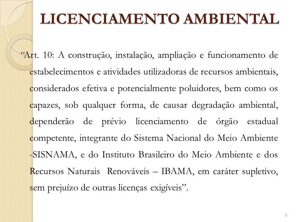 LICENCIAMENTO AMBIENTAL Art. 10: A construção, instalação, ampliação e funcionamento de estabelecimentos e atividades utilizadoras de recursos ambient