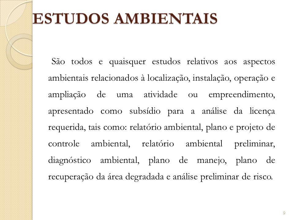 ESTUDOS AMBIENTAIS São todos e quaisquer estudos relativos aos aspectos ambientais relacionados à localização, instalação, operação e ampliação de uma