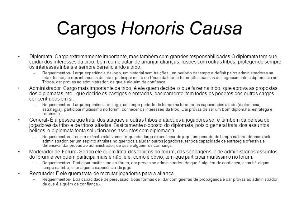 Cargos Honoris Causa Diplomata- Cargo extremamente importante, mas também com grandes responsabilidades.O diplomata tem que cuidar dos interesses da t
