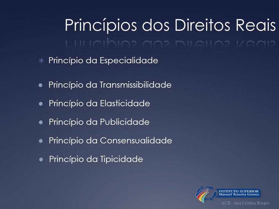 Princípio da Especialidade Princípio da Transmissibilidade Princípio da Elasticidade Princípio da Publicidade Princípio da Consensualidade Princípio d