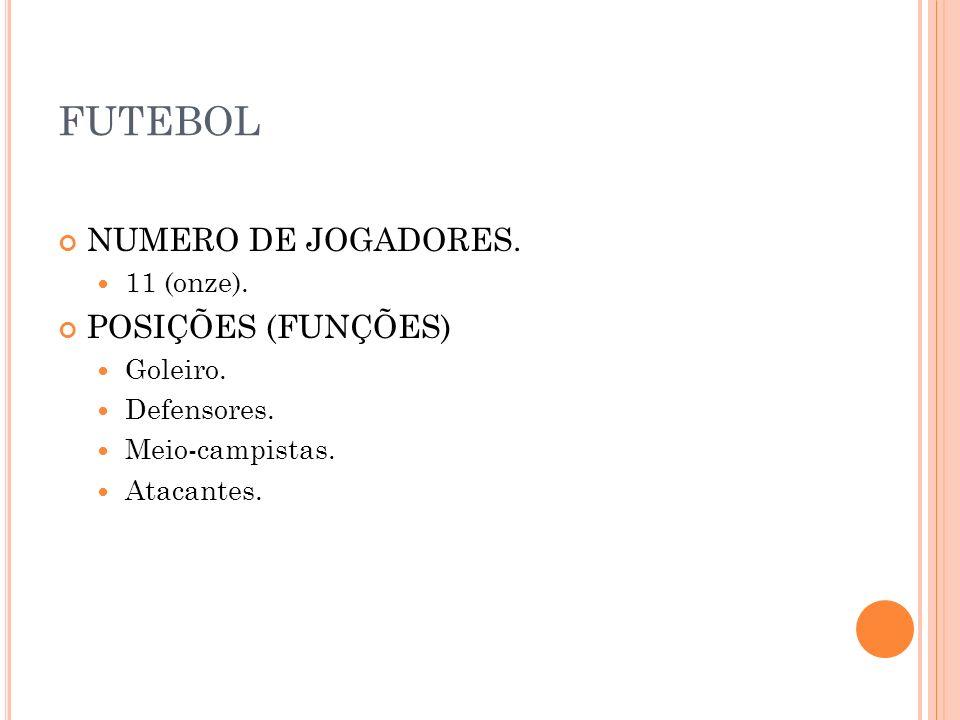 FUTEBOL NUMERO DE JOGADORES. 11 (onze). POSIÇÕES (FUNÇÕES) Goleiro. Defensores. Meio-campistas. Atacantes.