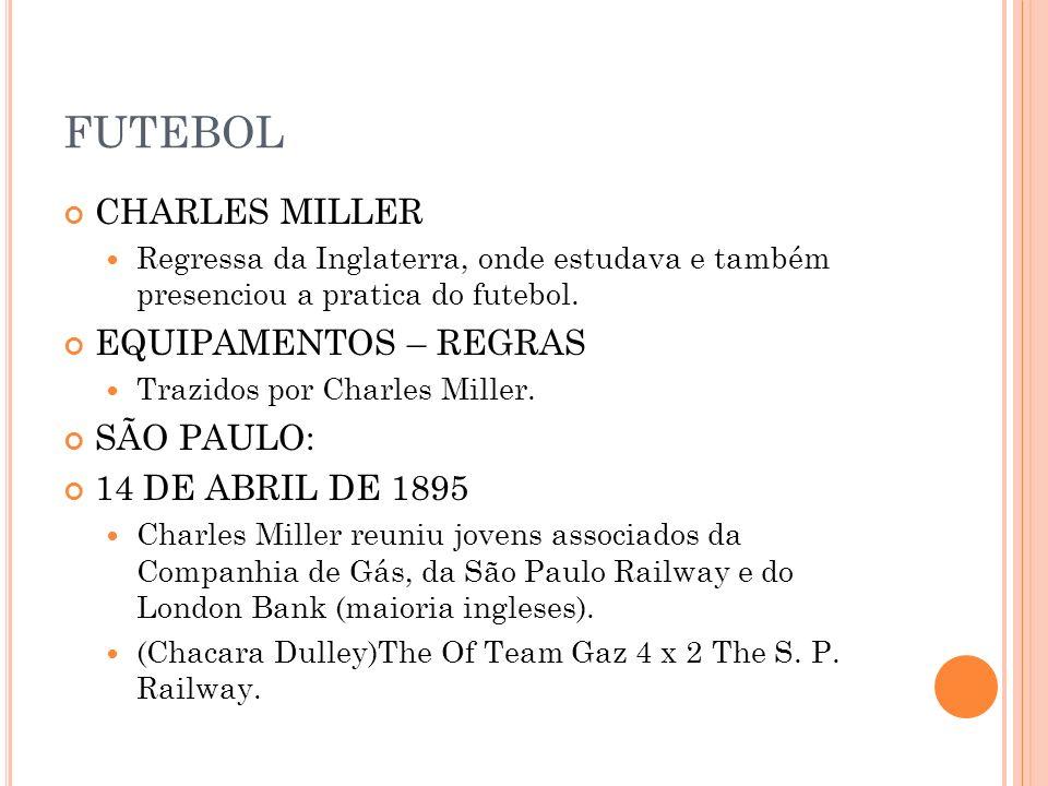 FUTEBOL CHARLES MILLER Regressa da Inglaterra, onde estudava e também presenciou a pratica do futebol. EQUIPAMENTOS – REGRAS Trazidos por Charles Mill
