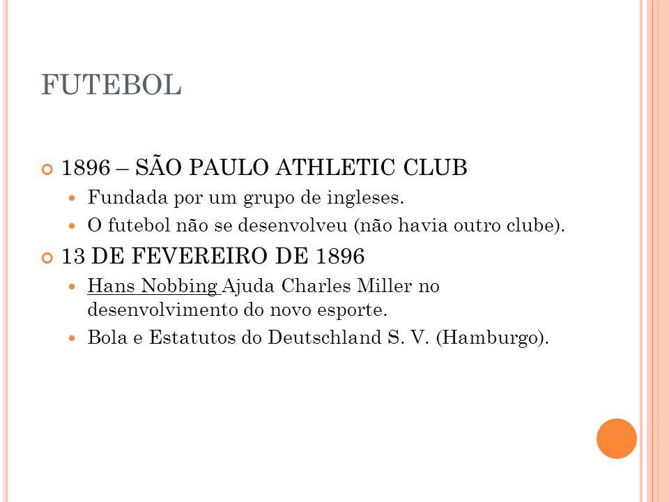 FUTEBOL 1896 – SÃO PAULO ATHLETIC CLUB Fundada por um grupo de ingleses. O futebol não se desenvolveu (não havia outro clube). 13 DE FEVEREIRO DE 1896