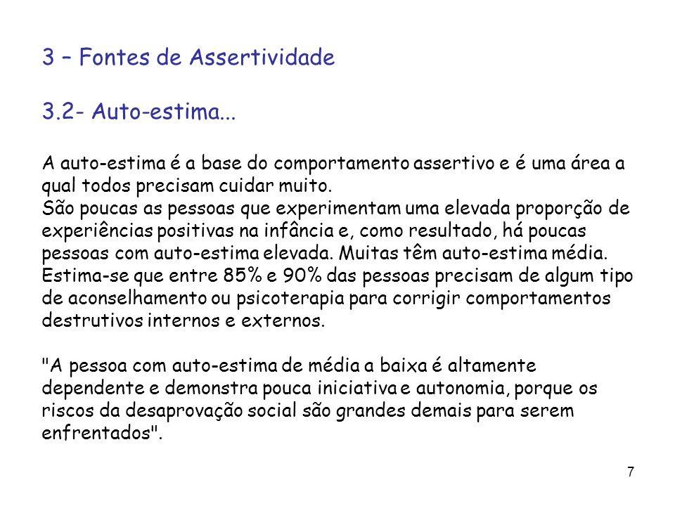 7 3 – Fontes de Assertividade 3.2- Auto-estima... A auto-estima é a base do comportamento assertivo e é uma área a qual todos precisam cuidar muito. S