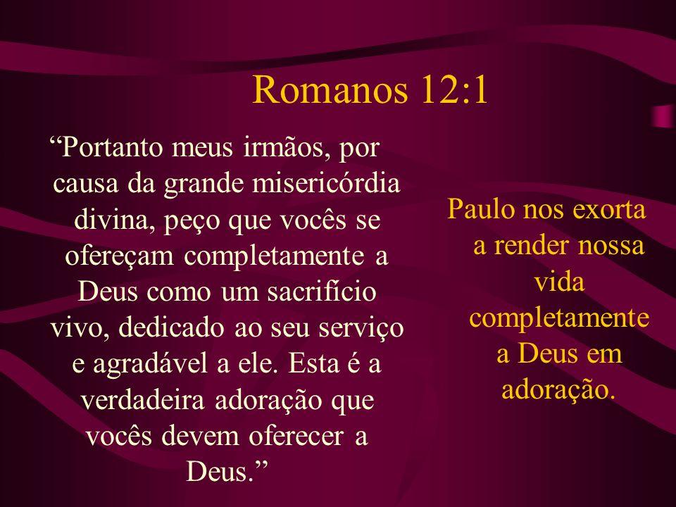 Romanos 12:1 Portanto meus irmãos, por causa da grande misericórdia divina, peço que vocês se ofereçam completamente a Deus como um sacrifício vivo, d