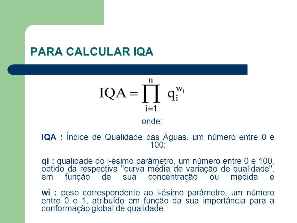 PARA CALCULAR IQA onde: IQA : Índice de Qualidade das Águas, um número entre 0 e 100; qi : qualidade do i-ésimo parâmetro, um número entre 0 e 100, ob