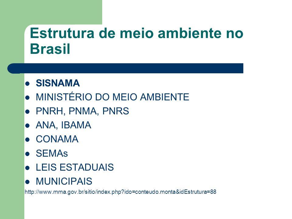 Estrutura de meio ambiente no Brasil SISNAMA MINISTÉRIO DO MEIO AMBIENTE PNRH, PNMA, PNRS ANA, IBAMA CONAMA SEMAs LEIS ESTADUAIS MUNICIPAIS http://www