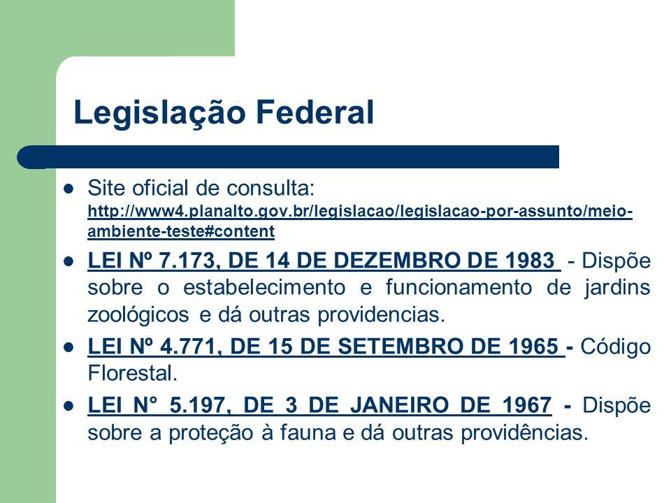 Legislação Federal Site oficial de consulta: http://www4.planalto.gov.br/legislacao/legislacao-por-assunto/meio- ambiente-teste#content http://www4.pl