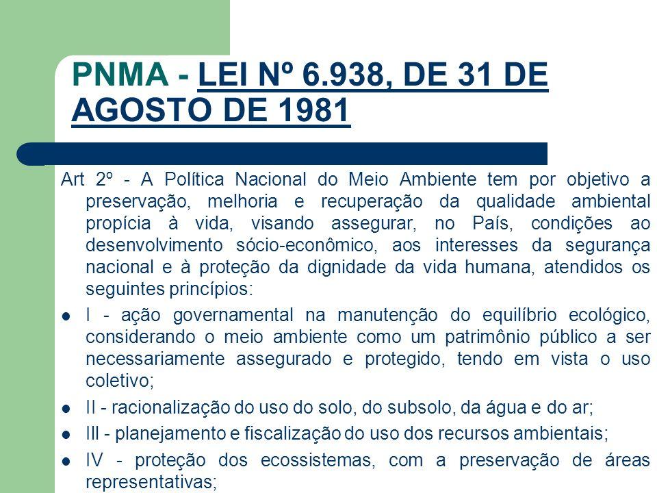 PNMA - LEI Nº 6.938, DE 31 DE AGOSTO DE 1981LEI Nº 6.938, DE 31 DE AGOSTO DE 1981 Art 2º - A Política Nacional do Meio Ambiente tem por objetivo a pre